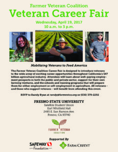 Farmer Veteran Coalition to Host Career Fair at CSU Fresno