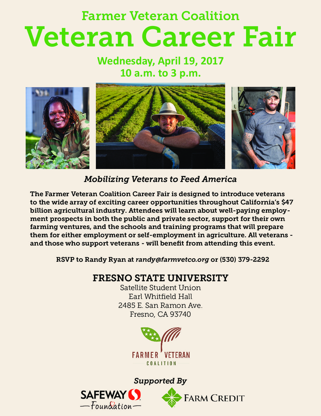 Farmer Veteran Coalition to Host Career Fair at CSU Fresno